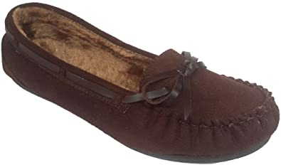 Women Furry Warm Moccasin Faux Suede Flat Loafer Casual Shoes Slip On Round Toe