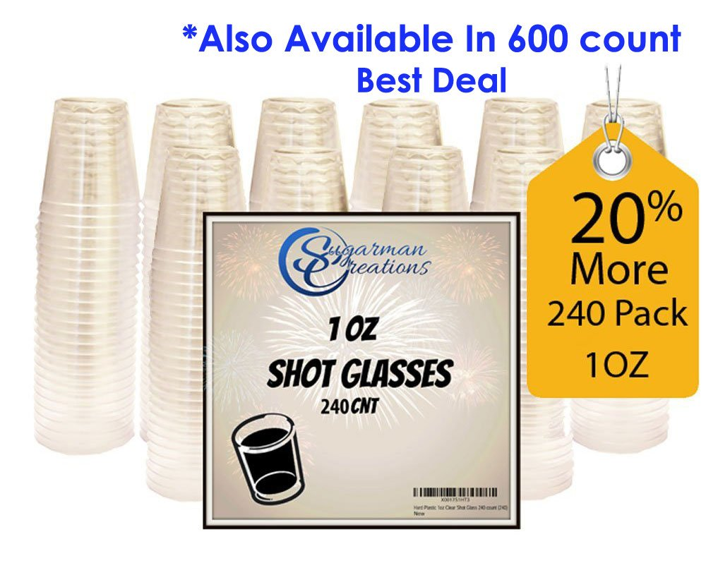 Sugarman Creations Clear Plastic Disposable Shot Glasses, Heavy Duty Restaurant Grade, 1 Ounce - (240-Pieces) SUMMER SALE! by Sugarman Creations
