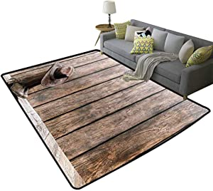 Western Decor Indoor Rug Wild West Boots in Wooden Room Folkloric Old Fashioned Wild Sports Theme Image Will not Fade Brunette, 4'x 6'(120x180cm)