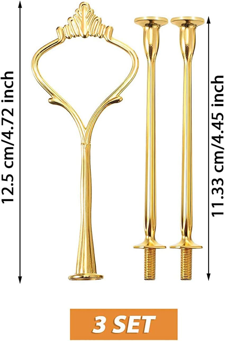 Red, Gold, Silver 6 Sets Cake Stand Fittings Hardware Fittings Cake Tray Holder 3 Tiers Cake Stand Mold Crown for Resin Crafts DIY Making Cupcake Serving Stand Decoration