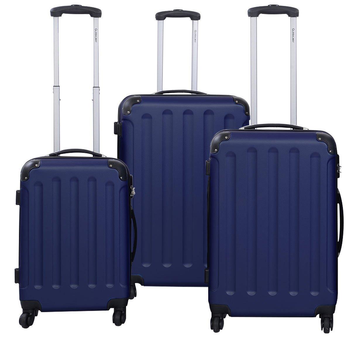 3 Pcs Luggage Travel Set Bag ABS+PC Trolley Suitcase Dark Blue