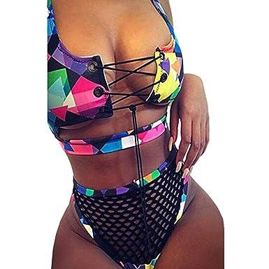 6fafb2510d Amazon.com: Women Bikini Sets Two Piece Sexy Criss Cross Bandage Splice  Swimsuit Hollow High Waist Beach Push Up Bathing Suit: Clothing