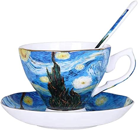 cappuccino VRBELNI Vidsel Coffee cups 4 sets Van Gogh Apricot flower Works theme Tea cups and saucers sets,Used for latte tea