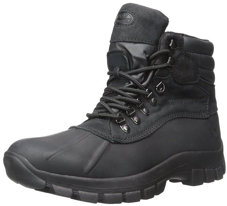 KINGSHOW Men Warm Waterproof Winter Snow Leather Boots Size:10 Color:Black