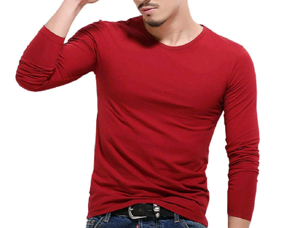 Andopa Mens Pure Colour Pullover Silm Juniors Pullover Tshirt Top Wine Red M