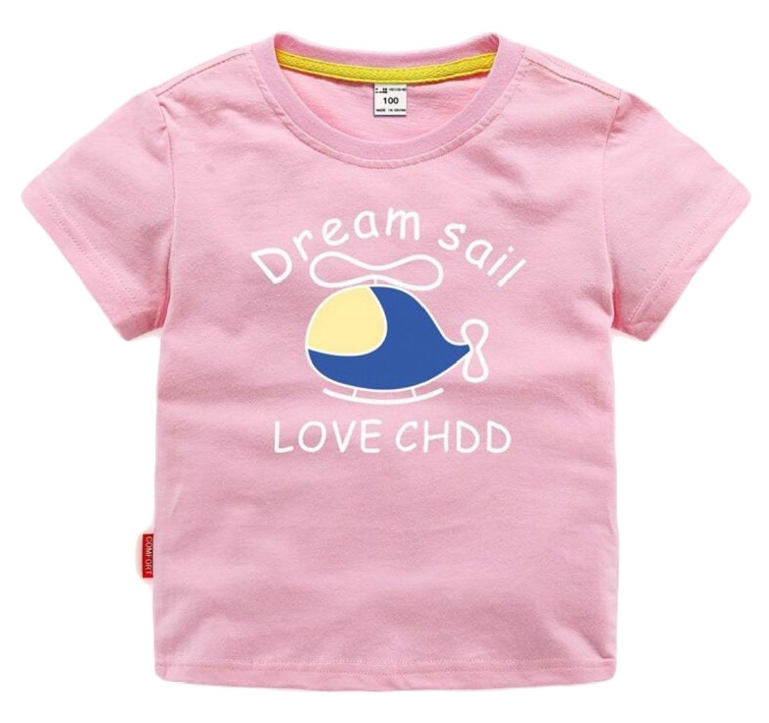 M&S&W Little Boy's Summer Cotton T Shirt,Summer Short Sleeve Helicopter Print T-Shirts Clothes Pink 2y