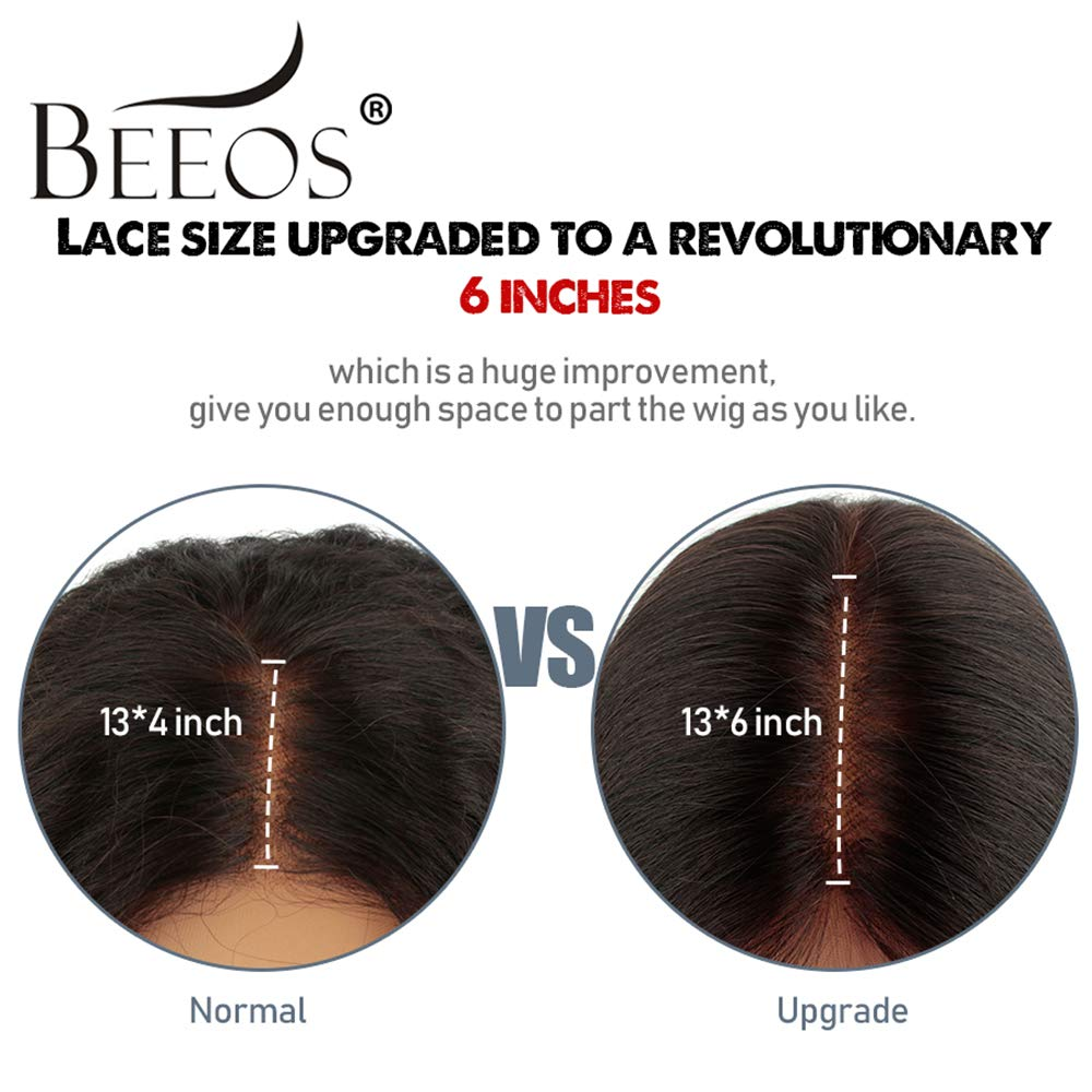 BEEOS 13x6 Short Bob Lace Front Human Hair Wigs for Black Women, 150% Density Pre Plucked and Bleached Knots Natural Black Brazilian Remy Bob Wig (10 inch) by BEEOS (Image #4)
