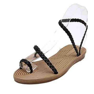 Ouneed® Damen flip flops Zehentrenner , Slipper Süße wulstige Bohemian Sandelholz Strand Schuhe (39, Rosa)