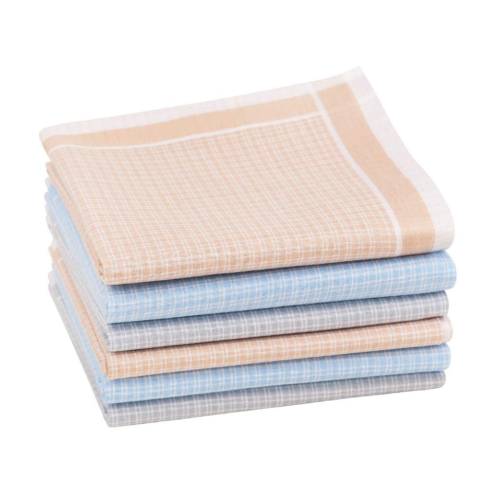 6//12 Pieces 17x17//43x43cm Houlife Classic 100/% 60S Cotton Mens Checkered Pattern Handkerchiefs Assorted Soft Plaid Hankies for Casual Fathers Day Gift