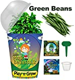 Children's Organic Window Garden Plant Kit - Jack's Magic Beanstalk - Complete Indoor Grow Set - Seeds, Soil, Planter, Greenhouse Dome, Water Tray, 1 oz. Cup, Growing Guide, Diary. Educational Gift.