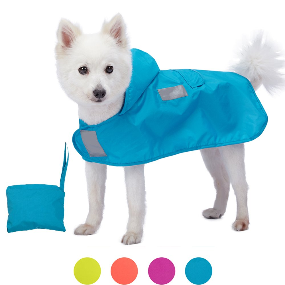 Blueberry Pet 4 Colors 14'' Lightweight Packable Outdoor Dog Hooded Raincoat Jacket 3M Reflective Safety Tapes in Azure Blue, Pack of 1 Foldable Poncho Coat Dogs