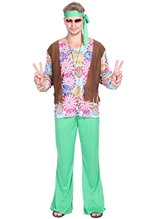 Amazon Com Jj Gogo Mens Hippie Costume Halloween Adult Fanstast
