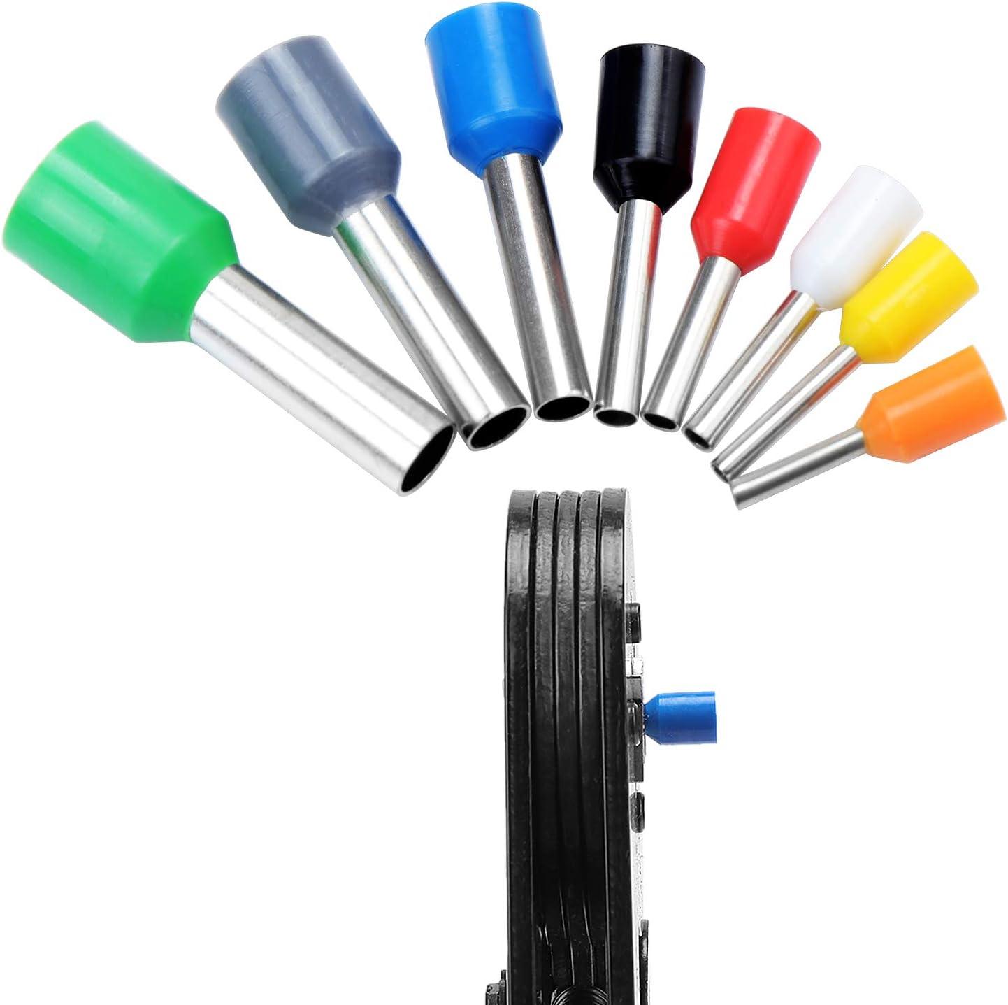 Pince de Sertissage avec 800PCS fils Ferrules dextr/émit/é AWG 23-10 WiMas Pince /à sertir Outil de Sertissage de Fil /à Cliquet R/églable 0.25-6.0mm/²