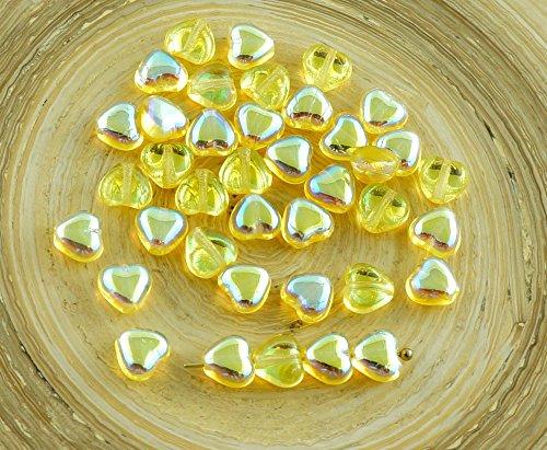 Glass Czech Heart Beads (40pcs Small Crystal Jonquil Yellow AB Half Czech Glass Heart Beads Valentines Wedding 6mm)