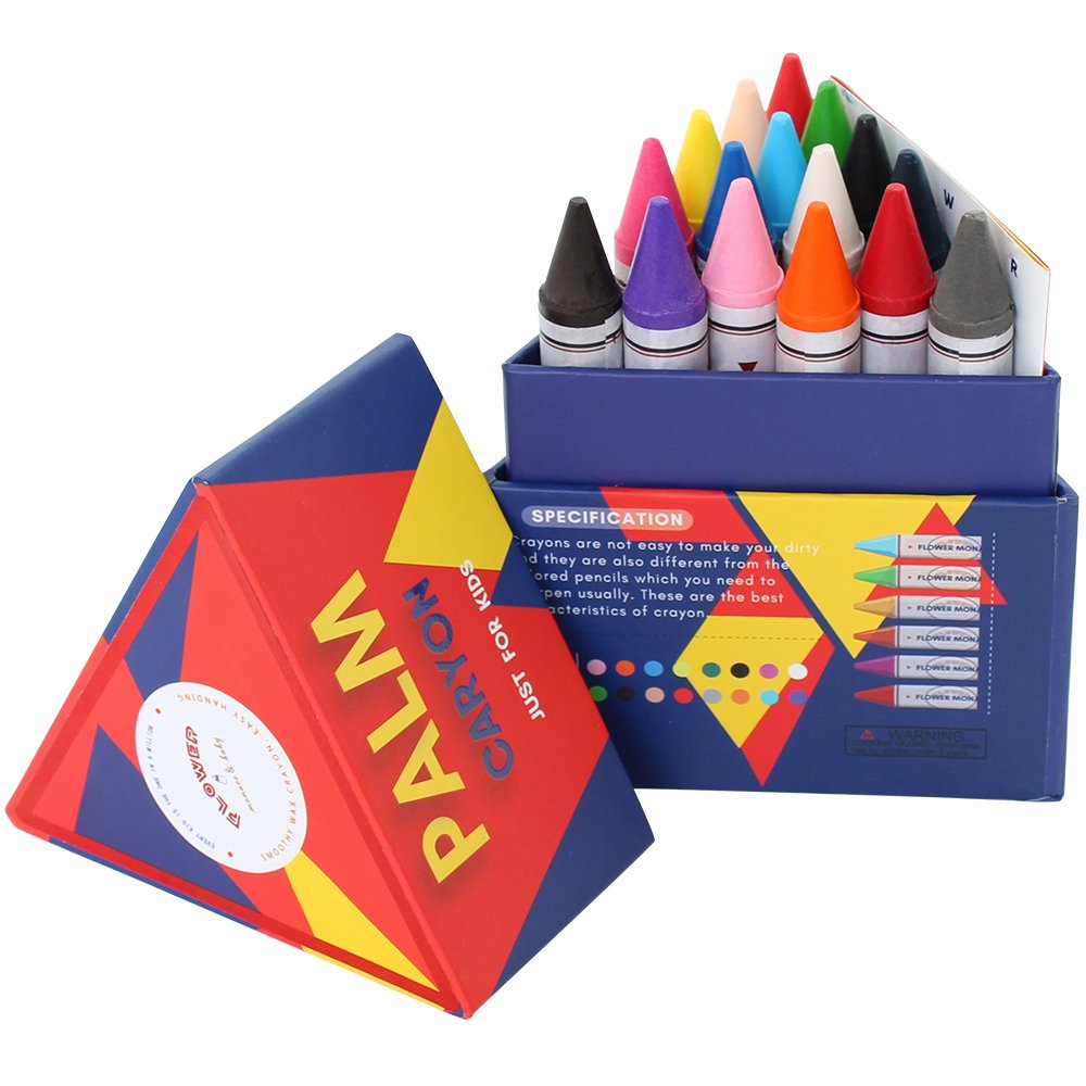 Lebze Crayons for Toddlers, Pack of 16 Non Toxic Crayons Easy to Hold for Kids and Children Flower Monaco