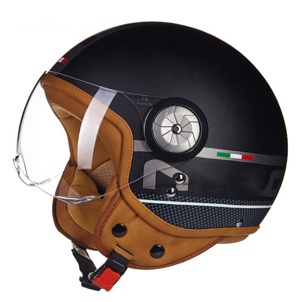 WXHJM B110 Retro Motorcycle Helmet Scooter-Helmet Cruiser Mofa Chopper Bobber Pilot Vespa-Helmet Vintage Biker Jet-Helmet Moto-Helmet Include Cloth Bag DOT ECE Certification by WXHJM