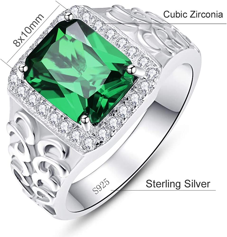 Natural Emerald Diamond Ring 925 Sterling Silver Handmade Ring Diamond Statement Ring Engagement Ring