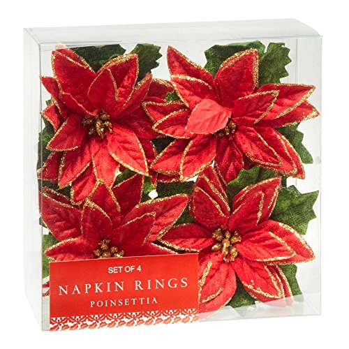 Poinsettia Napkin - Nantucket Home Red Poinsettia Napkin Rings, Set of 4