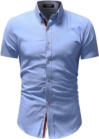 Camisa Formal De Manga Corta con Botones Cuello Alto para Hombre: Amazon.es: Ropa y accesorios