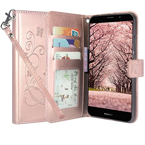 4g Case Pouch - Huawei Ascend XT 2 Case, Huawei Elate 4G LTE Case, Linkertech [Kickstand Feature] PU Leather Wallet Flip Pouch Case Cover with Card Slots & Wrist Strap for Huawei Ascend XT2 H1711 (Rose Gold)