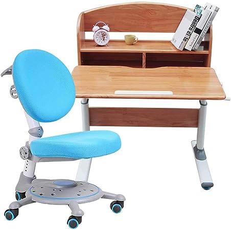 Juegos de mesas y sillas Hogar con estantería mesas y sillas mesa elevadora para niños estudiante de madera maciza mesa de estudio sentado postura de corrección silla simple escritorio para estudiante: Amazon.es: