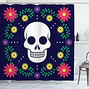 LONSANT Waterproof Shower Curtain,Dia de Los Muertos Day of The Dead Floral Decoration,Durable Machine Washable Fabric Bath Curtains with 12 Hooks,Home Bathroom Decor for Bathtub 72