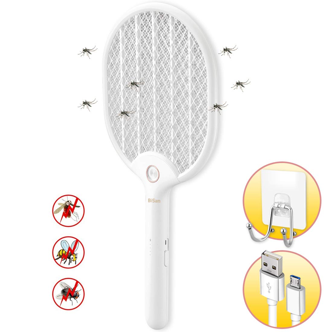 Electric Fly Swatter Racket, USB Charging Mosquito Flies Swatter Fly Zapper with Adhesive Wall Holder for Camping BBQ Indoor and Outdoor by lunaoo