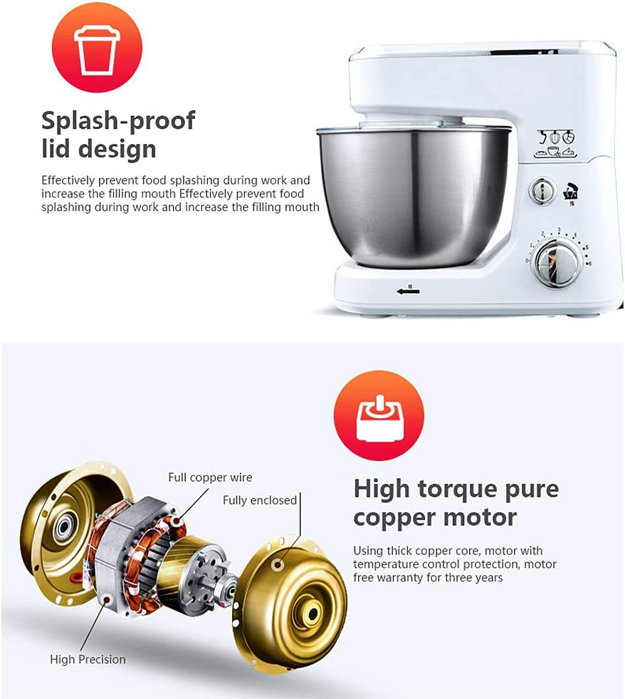 Stand Mixer, Household Multifunctional Splash-proof Kitchen 6-speed Food Mixer Cook Machine, With Dough Hook And Whisk White