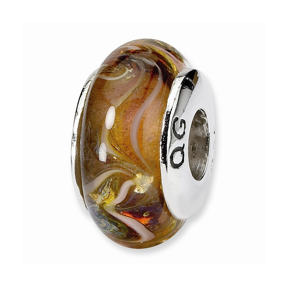 Sterling Silver Reflections Fine Brown Hand-blown Bead