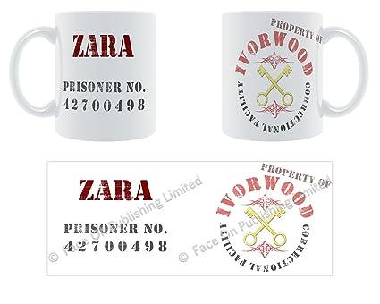 Zara correccional - prisión ejemplar de taza - hembra nombre de regalo con mensaje personalizado