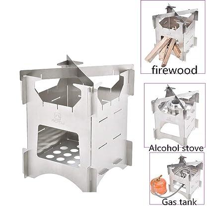 Estufa de leña para acampar, estufa de leña plegable, estufa de titanio liviana y