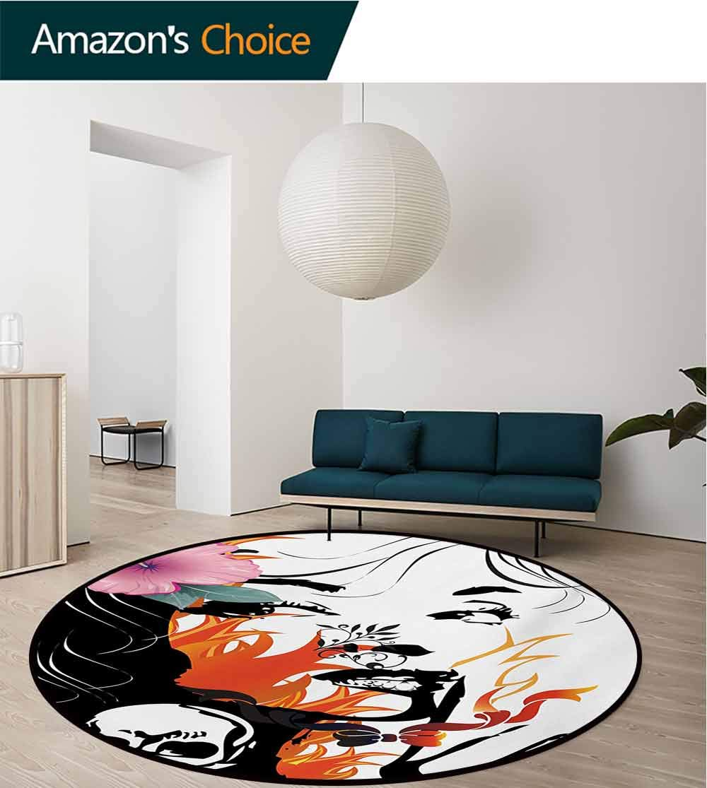 Tattoo Non-Slip Area Rug Pad Round,Attractive Women With Pink Flower In Her Hair Near A Skull Design Protect Floors While Securing Rug Making Vacuuming,Diameter-71 Inch Orange Pink Black And White by RUGSMAT (Image #3)