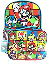 Super Mario Boys & Girls Boss, Princess, Luigi 16 School Backpack With Lunch Bag Set