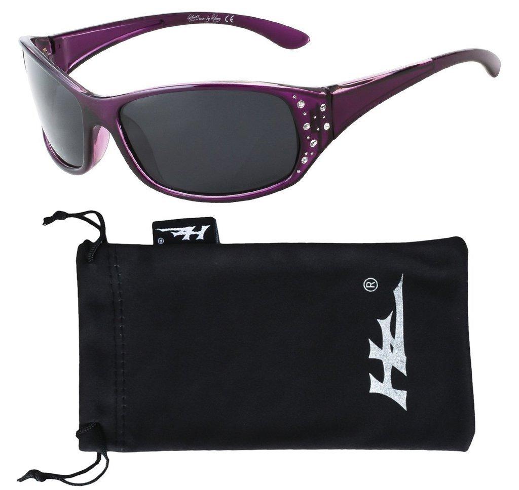 HZ Series Elettra – Women's Premium Polarized Sunglasses by Hornz – Deep Lavender Frame – Dark Smoke Lens