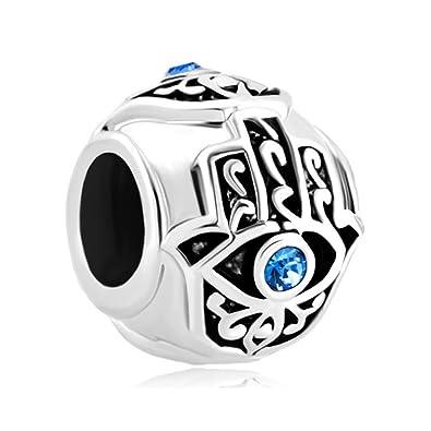 Uniqueen Dangle Hamsa Hand Blue Evil Eye Spacer Charms Sale Cheap Beads Fit Pandora Bracelets SF3IiS8