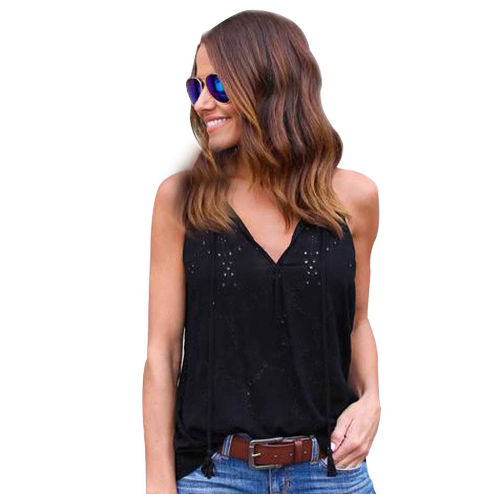 Women Tank Tops Sleeveless Solid Color Round Neck Vest Pullover Blouse T-Shirts (XL, Black)
