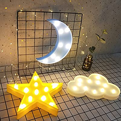 Decorative LED Crescent Moon Marquee Sign - Moon Marquee Letters LED Lights - Nursery Night Lamp Gift for Children