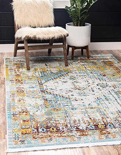 (Unique Loom Baracoa Collection Bright Tones Vintage Traditional Light Blue Area Rug (10' 0 x 13' 0))