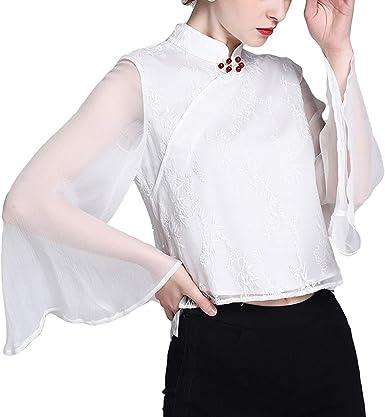 Mujeres de pie Cuello Flare Manga Larga Blusa Transparente Floral Gasa Blanca Camisas (Color : White, Size : S): Amazon.es: Ropa y accesorios