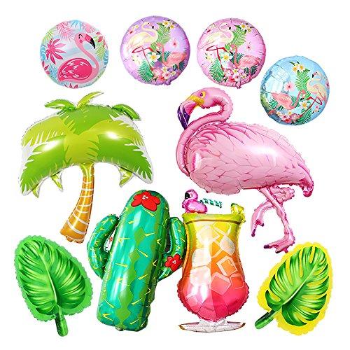 GOER Flamingos Theme Party Foil Balloons Kit,10 Pcs Giant Helium Balloons for Flamingos Western Cowboy Hawaiian Luau Summer Theme Birthday Party -