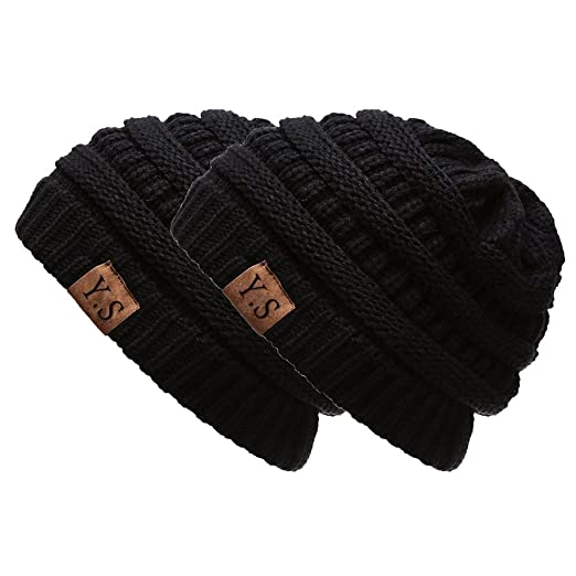 5f6637755ea531 VANGAY Trendy Slouchy Beanie Hat Unisex Soft Warm Oversized Chunky Cable  Knit Thick Cap (2Pack