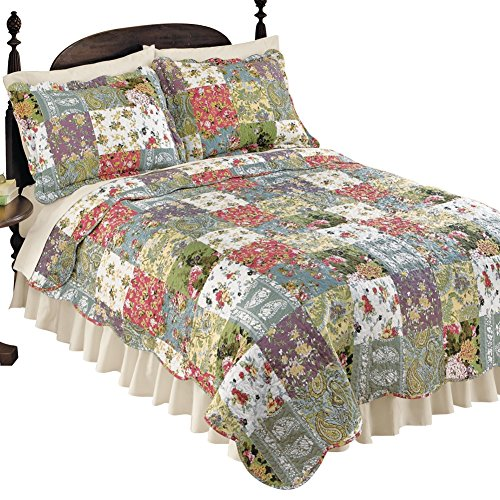 Collections Etc Blossom Floral Patchwork Reversible Lightweight Quilt  Multicolor  King