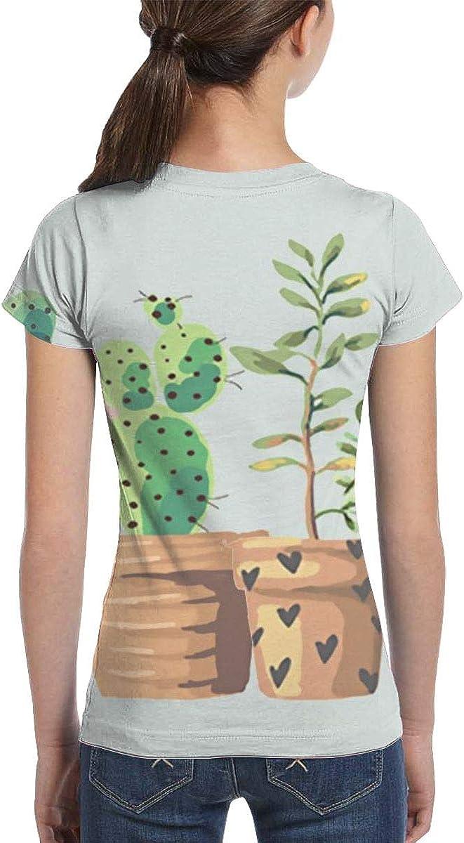 L6Nv4o@A Girls Short Sleeve Plant Cactus T-Shirts Fashion Tunic Shirt Dress XS-XL