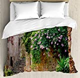 Landscape Duvet Cover Set by Ambesonne, Summer Garden Flowers Marigold Stones Antique Ancient House in Spain Art Print, 3 Piece Bedding Set with Pillow Shams, Queen / Full, Multicolor
