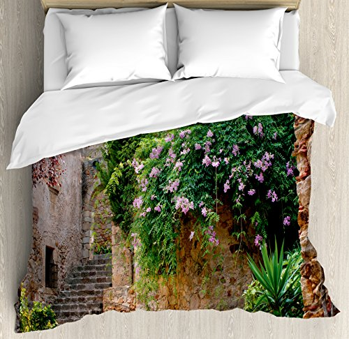 Landscape Duvet Cover Set by Ambesonne, Summer Garden Flowers Marigold Stones Antique Ancient House in Spain Art Print, 3 Piece Bedding Set with Pillow Shams, Queen / Full, Multicolor by Ambesonne