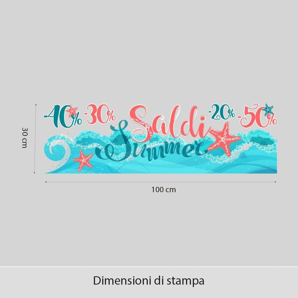 UVSD0116 Adesivi Murali Vetrofania Estivi Onda Marina Stickers Misure 100x30 cm Vetrine Negozi Estate Adesivi
