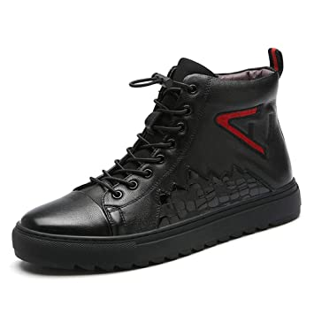 YAN Calzado Deportivo para Hombre, Cuero Otoño Martin Boots Moda Cremallera Lateral Zapatillas Altas Zapatillas Casual Negro (Color : Negro, tamaño : 41): ...