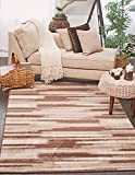Cheap Modern Area Rug (Brown – 5′ x 8′-Feet) Giza Collection Home Floor Décor Rugs – Living, Dinning, Office, Rooms & Bedrrom, Hallway Carpet