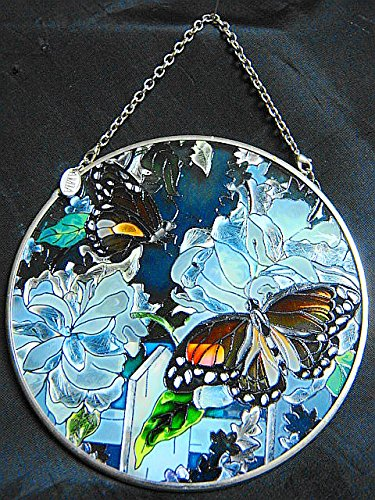Amia Hand Painted Stained Glass True BlueTwo Butterflies with Florals 4.5