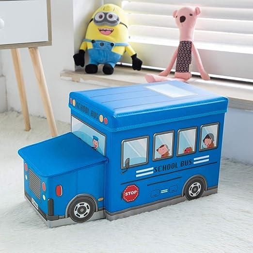 Kids Storage Seat Ottoman Stool Books Toys Chest Box Boys Girls Bus School Bus B
